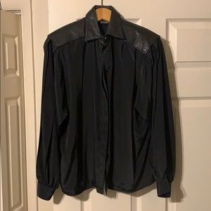 VTG 80s blouse with leather collar